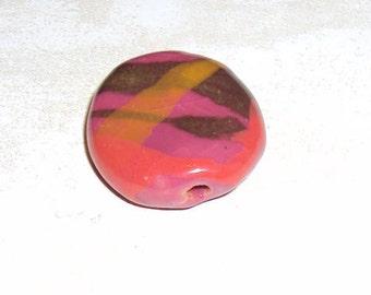 Kazuri Bead Ceramic, Clay, Ethnic, Single Fair Trade Bead from Africa Primrose Benin Splash Pita Pat