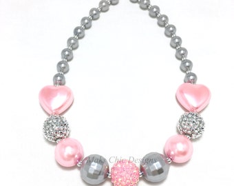 Toddler or Girls Silver and Pink Heart Chunky Necklace - Princess Chunky Necklace - Pink Heart necklace - Flower Girl Silver Necklace