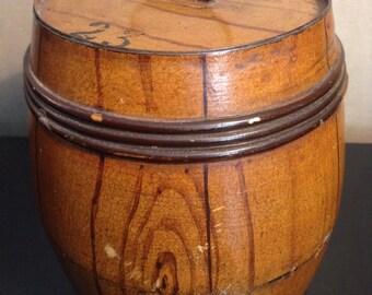 Antique tin faux wood grain pickle barrel or biscuit barrel