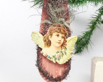 1800's Victorian Die Cut and Tinsel Christmas Angel Scrap Ornament