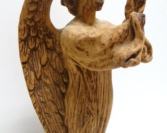 Angel Santos, Antique Hand Carved Saint with Wings