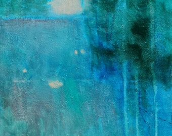 """Abstract Landscape Painting on Canvas, Deep Blue, Trees """"Unexpected Waterfall"""" 12x24"""""""