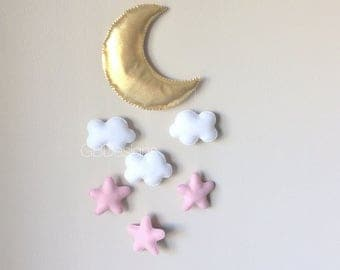 Baby mobile - moon mobile - moon stars mobile - baby mobile moon - pink and gold nursery - pink and white nursery