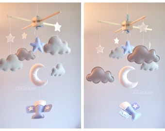 Baby mobile - air plane mobile - cloud mobile - moon clouds mobile - blue and gray mobile -