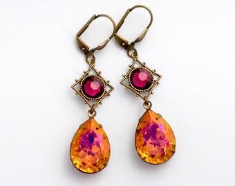 Pink Orange Rhinestone Earrings, Nickel Free Antiqued Brass Earrings, Pink Rhinestone Jewelry, Rhinestone Drop Earrings Dangle, Cirila