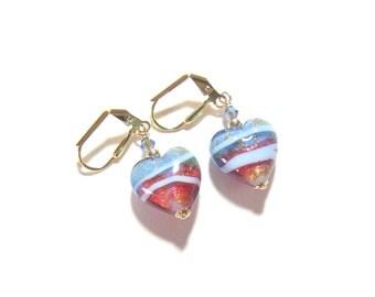Murano Glass Pink Blue Gold Heart Earrings, Gold Filled Leverback Earrings, Venetian Jewelry, Italian Jewelry, Lampwork Glass Heart Earrings