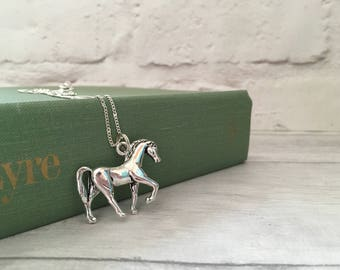 Horse necklace, pony charm necklace, horse riding necklace, horse riding jewellery, gift for her, necklaces uk, under 10, for women uk