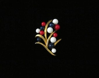 Vintage Mod Brooch Gold Tone Red White and Blue Plastic Beads Abstract Sprig Design Patriotic American Colors