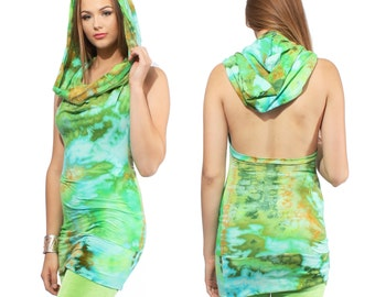 Hoodie Halter Top in Jungle Ice Hand Dyed