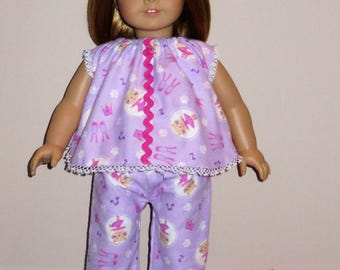 """Handmade Doll Clothes fits/for 18 inch American Girl Doll ~ """"Dancing with Cats"""" Purple & Pink Ballerina Cats Print 2-piece PJ's Pajamas Set"""