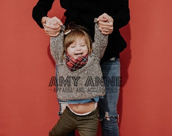 Matching Mommy & Me Mother Daughter Flannel Red Flannel Tartan Royal Stewart Plaid Check Infinity Scarf Great Fall Winter Christmas Photos