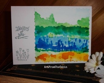 Watercolor Card, Thinking of You, Greeting Card, Blank Card, Abstract Landscape, Blue, Green, Yellow, Original Card, ArtFromTheCabin