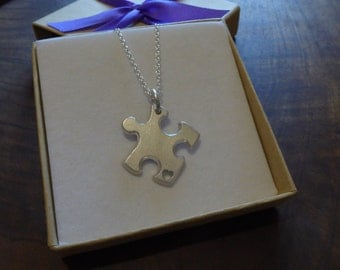 Thick Silver Puzzle Piece Pendant Necklace with Handcut Heart, Satin