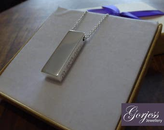 Solid Oblong with Coordinates Silver Pendant