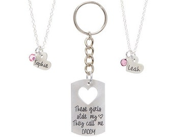 Personalized Father's Day Gift - Father Daughter These Girls Stole My Heart. They Call Me Daddy Dog Tag Mens - Engraved Jewelry - Swarovski