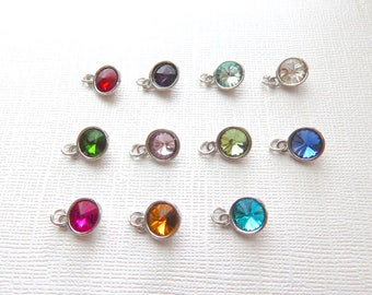 ADD a Birthstone CHARM, Round Crystal Birth month Charms, Garnet Amethyst Aquamarine Diamond Emerald Ruby Peridot Sapphire Rose Topaz