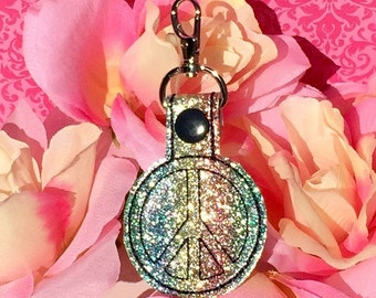 Peace Sign Key Fob Rainbow Glitter Vinyl Key Chain Zipper Pull Back To School Custom Key Chain
