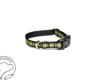 "NEW - Cornish National Tartan Small Dog Collar - Thin Dog Collar - 1/2"" (12mm) Wide - Cornwall Plaid - Choice of collar style and size"
