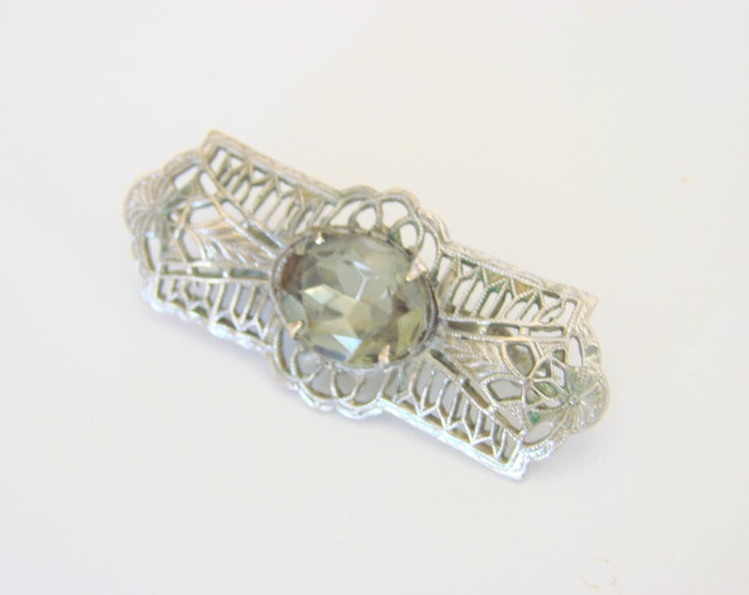 Antique 1930s Art Deco Filigree Smoky Green Faceted Glass Brooch Vintage Jewelry Jewellery