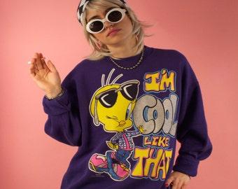 "Vintage 90's Tweety Bird Sweater ""I'm Cool Like That"" Purple Looney Tunes Cartoon Grunge Oversized Large Glitter Super Rad and Rare Unisex"