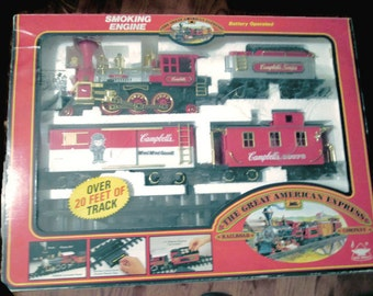Great American Express Railroad Co.New Bright Campbell Soup Smoking Engine Battery Operated Train Set.