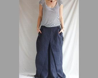 Linen Maxi Skirt Blue Pleated Maxi Skirt Romantic Plus Size Long Skirt Oversized Maxi Skirt Long Dress Tulip Skirt Women's Long Maxi Skirt