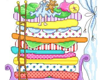 Princess and the Pea Cross Stitch Pattern