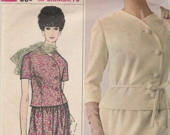 60s Chic Two Piece Dress Pattern Simplicity 6173 Size 16 Uncut