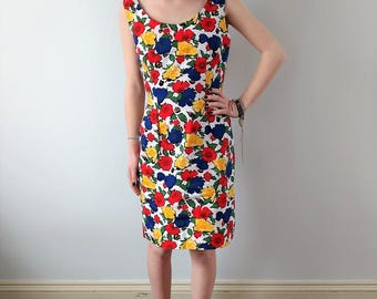 Vintage 1960s sundress, 60s floral summer dress, xs, small