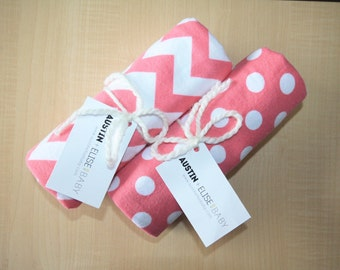 Pink Baby Receiving Blanket - Oversized Single-Sided Flannel Baby Receiving Blanket - Swaddle Blanket - Chevron and Dots Baby Girl Blanket