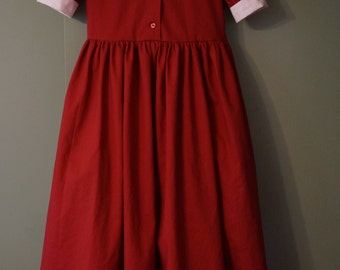 IN STOCK Girls' Modest Dress Size 8/10 in Burgundy Dream Cotton - red dress - burgundy dress - long dress - modest clothing - ready to ship