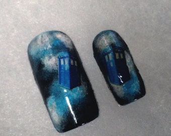 Acrylic Nails-Doctor Who Inspired TARDIS False Nails