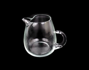 Vintage Glass Pitcher Pinched Spout Clear Glass Applied Handle Mid Century Kitchen Water Decanter Blown Glass