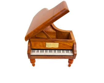 Vintage REUGE Grand Piano Swiss Music Box Tristesse Chopin Jewelry Box Made in Switzerland
