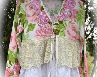 RomanticRoses and Roses Cropped Sweater Ruffles N' Lace  OOAK RUSTIC,Cropped Sweater SHRUG Size Small
