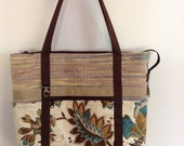 Hand Woven Plarn - Yarn of Recycled, Reused, Upcycled Plastic Bags - Zippered Tote, Book Bag, Beach Bag in tan, teal, cream, yellow