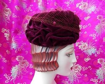 Vintage 1960's Merlot Velvet Turban Hat . Classic Red Beehive Toque . Glorious Draping . Net Magenta Poms .  Eccentrically Sassy Chic . Xmas