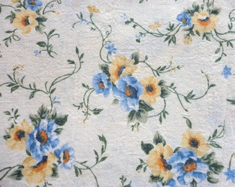 yellow and blue floral print vintage cotton blend fabric -- 46 wide by 4 yards