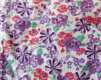 vintage feed sack fabric -- lavender, purple and pink flowers and bows print