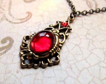 Gothic Necklace Art Nouveau Necklace Red Necklace Game of Thrones Necklace Art Deco Necklace Ruby Pendant Fantasy Jewelry- Sweet Love