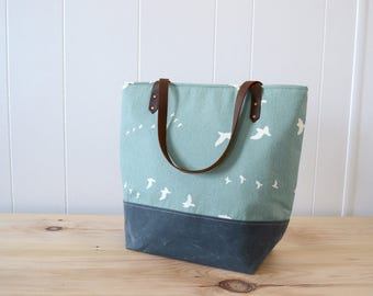 Large Tote Bag in Summer Flight with Waxed Canvas bottom