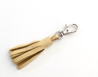 Butter Yellow Leather Tassel Keychain Clasp