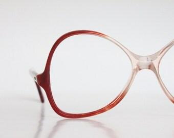 Vintage French Paprika Red Fade Oversized Eyeglasses