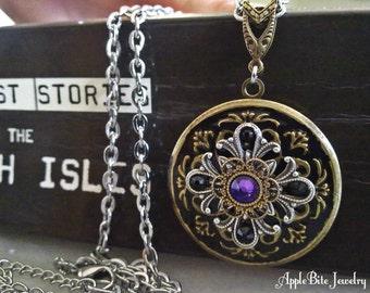 Gothic Black Locket Pendant with Swarovski Crystals Locket Jewelry Gothic Jewelry