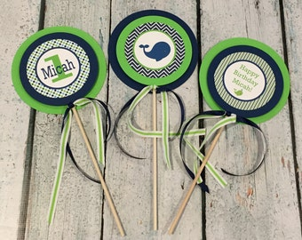 PREPPY WHALE Theme Happy Birthday or Baby Shower {3 Piece Centerpiece} - Navy Green - Party Packs Available