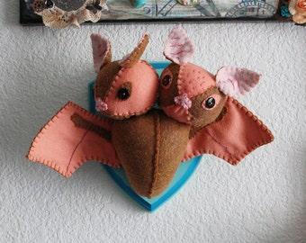 Faux Taxidermy Two-Headed Bat Felt Doll