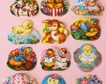 Vintage 1950s EASTER Stickers Die Cut Seals - BUNNY Chicks Ducks EGGS (13 Total)
