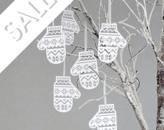 Six Papercut Mitten Decorations