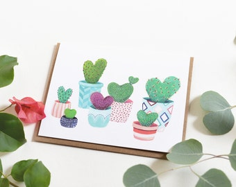 Heart Cactus Love Card - Valentine's Day Potted Cacti Card