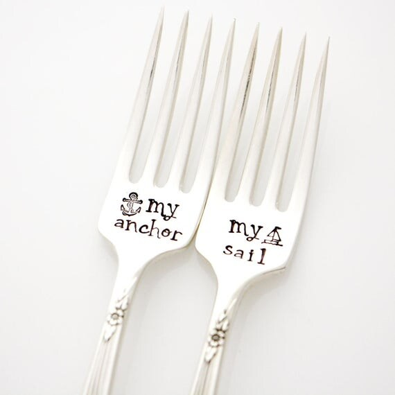 My Anchor, My Sail. Hand stamped wedding forks.